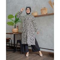 Baju Atasan Tunik Wanita Lengan Panjang Motif Zoeya Leopard Fit To XL