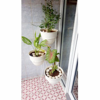 Standing Rak Pot Besi 3in1 Susun 3 in 1 Tempat Bunga Tanaman Hias - Hitam, 20cm x 60cm