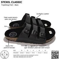 Sandal Pria & Wanita Casual Triple Strap / Tali 3 Classic Black Stexel - 39, Hitam
