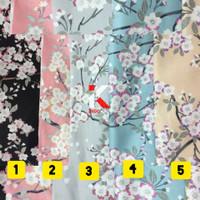 Bahan Kain Katun Jepang Meteran Motif Sakura Hana Setelan Gamis Kemeja