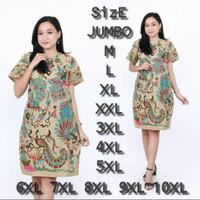 Dress Batik Wanita Terbaru Lengan Pendek | Baju Dress Batik Murah BGT - Merak Tosca, M
