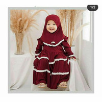 gamis Jersey anak 3-4 tahun baju muslim anak
