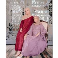 Baju Gamis Wanita Muslim Dealova Kaftan Arabian Aplikasi Brukat - pink
