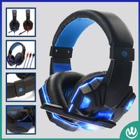 Headset Headphone Gaming + Microphone LED Aksesoris Gaming PC & Laptop