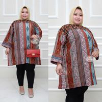 Baju batik tunik atasan wanita super jumbo ld 140 motif lurik songket