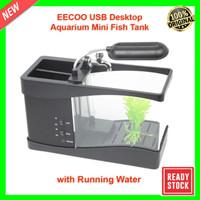 EECOO - LS0404 USB Desktop Aquarium Mini Fish Tank with Running Water - Hitam