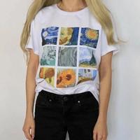 Kaos Baju Van Gogh Paint aesthetic tumblr tee 90s oversize unisex