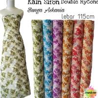 Kain Sifon Double Hycone Bunga Askania Lebar 115cm / Kain Sifon Motif