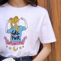 Kaos Baju Girl Power aesthetic tumblr tee 90s oversize unisex murah