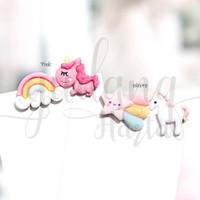 Anting Stud Rainbow Unicorn Unik Earrings Kuda Poni Pelangi GH 203814
