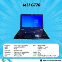 Laptop Gaming MSI GT70 Core i7 4700MQ 16GB 750GB FHD Layar 17.3inch