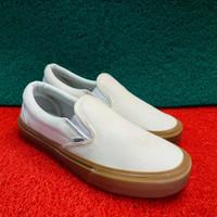 sepatu vans slip on putih sol cokelat ukuran 36 - 45
