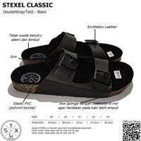 Sandal Pria & Wanita Casual Double Strap / Tali 2 Classic Black Stexel - 39, Hitam