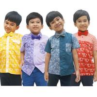 Baju kemeja batik anak laki kekinian modern motif gajah 1-12 tahun
