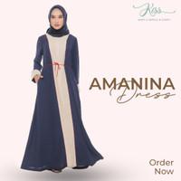 Gamis / Dress Amanina Premium Baju Muslim Kiss Hijab Syari - Hitam, S