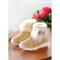 Sepatu Boots Bulu Anak Perempuan / BOT-01 - Emas, 22
