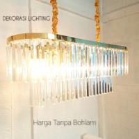 Lampu gantung hias kristal 80cm 2susun panjang ruang tamu