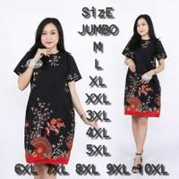 Dress Jumbo Batik 398 Bigsize Baju Atasan Wanita Big Size Batik Jumbo - Kipas Bunga, M