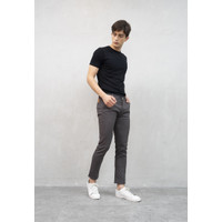 Celana Chino Panjang Pria Slim fit Stretch Jeans abu gelap
