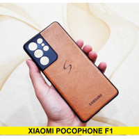 Case Xiaomi Pocophone F1 Leather Back Kulit Softcase Soft Cover Casing
