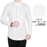 Baju Kemeja Koko Lengan Panjang Slimfit Pria k8690 bisa gosend instant - L