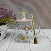 Mug kaca gelas transparan Cute Duck Angsa with Sweet Expression - Happy