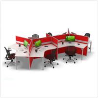 Meja Kerja Staff Kantor Workstation Cubicle 6 Orang Trigonal Partisi
