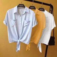 Baju Atasan Wanita Kem Talita - Kemeja Wanita Lengan Pendek - Mustard
