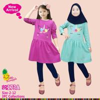 Baju Muslim Anak Perempuan Little Pineapple Unicorn Tosca Ungu 173A