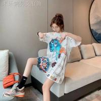 Baju Atasan Wanita Oversize Not Lazy Kaos Wanita Jumbo Lengan Pendek - Putih