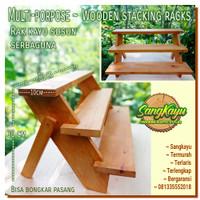 Rak susun kayu minimalis 50x10x30 cm rak kayu serbaguna rak bunga hias