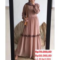 Baju Gamis Dress Wanita Muslimah Remaja Kekinian Rempel Febrina