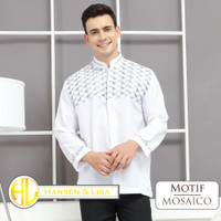 Baju Koko Pria Lengan Panjang Muslim Pria Koko Putih Bordir Mosaico