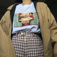 Kaos Baju Grunge Dinner aesthetic tumblr tee 90s oversize unisex murah