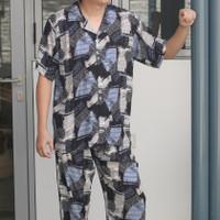 Baju tidur pria rayon adem / piyama pria dewasa / piyama rayon premium - Hitam, all size
