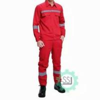 Baju safety K3 Proyek Setelan Merah/Seragam Kerja Pria Baju Celana