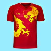 Jersey baju kaos olahraga badminton tenis meja Lining impor DNA 3