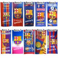 Handuk Motif Bola Barcelona Real Madrid Chelsea dll Jumbo 140 x 70cm