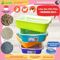 NUMAN Saringan Kotak 2in1 Paket Bak Pasir Jaring Kucing LitterBox Wood