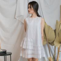 Dress bahan katun putih kasual EVRIDAY CLOTHING / Vinca Dress