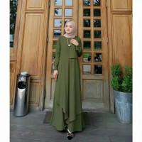 Baju Gamis Dress Muslim Wanita Mizza Maxi Polos Jumbo