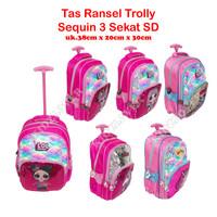 Tas Sequin Usap 3 Sekat Koper Ransel Anak Sekolah SD/TK Trolley Dorong