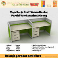 Meja Kerja 2 Orang Staff Kantor Cubicle Partisi Sekat Workstation 5