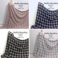 Obral kain wolfis monalisa premium kotak / bur*berry bahan gamis hijab