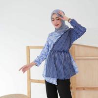 Baju batik wanita blouse atasan modern terbaru 2021 lengan panjang