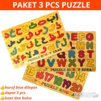 Paket Isi 3 Mainan Edukasi Anak Puzzle Kayu Hijaiyah Huruf Abjad Angka