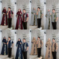 Baju Batik Couple Kemeja Pendek Maxi Gamis Pasangan Kondangan Pesta