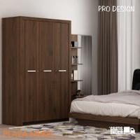 Lemari Pakaian Baju 3 Pintu Pro Design Roma White / Brown / Sonoma