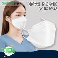 Masker KF94 Black - Masker korea 4Ply Earloop Hitam KF 94 - KF94 PUTIH 10PC