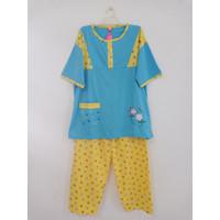 Baju Tidur/Piyama/BabyDoll Wanita Stelan CP Jumbo XXXL, Flowers - Biru Kuning